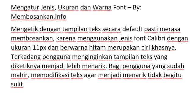 hasil dari penerapan ukuran font yang telah dipilih
