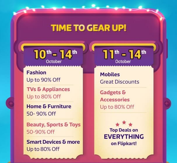 Flipkart Big Billion Days 2018 : Best Festive Deals and Offers on Mobiles and Gadgets