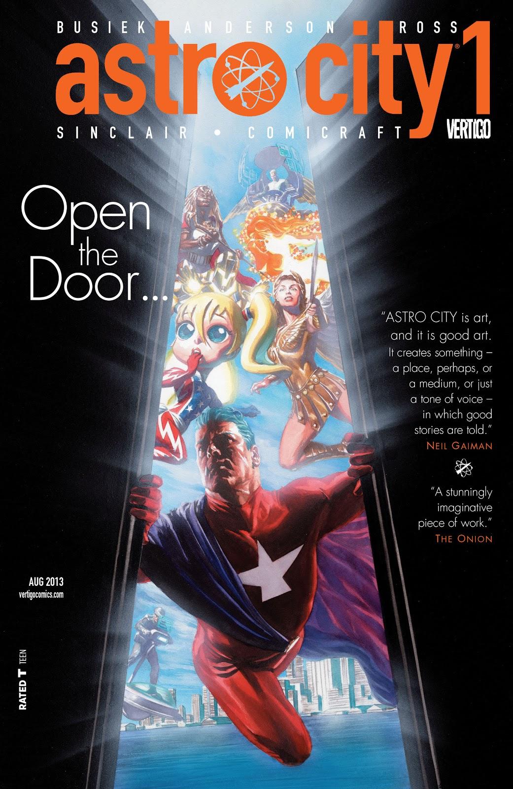 Samaritan opening doors leading to reader's POV, other superheroes behind him