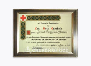 Certificate of Appreciation from Spanish Red Cross Blood Transfusion Centre
