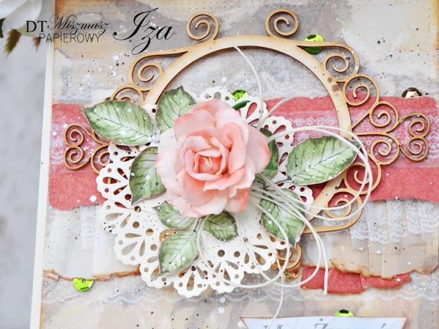 kartka z foamiranową różą