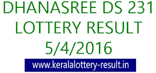 Kerala lottery result, Dhanasree Lottery result, Dhanasree DS-231 lottery result, Today's Dhanasree Lottery result today, 05-04-2016 Dhanasree Lottery result, Dhanasree DS 231 lottery result