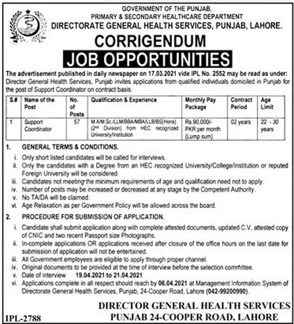 Latest Primary and Secondary Healthcare Department Jobs 2021