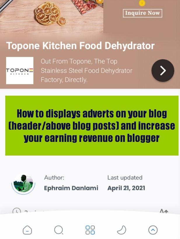 displays adverts on your blog (header/above blog posts) image