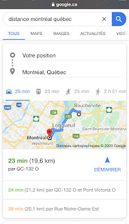 Google Canada raccourci distance