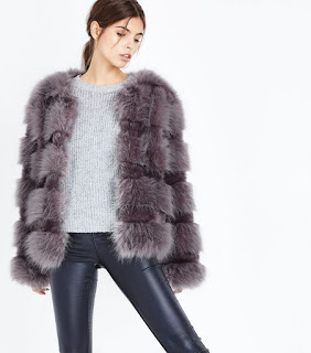 gray/ purple faux fur jacket/coat