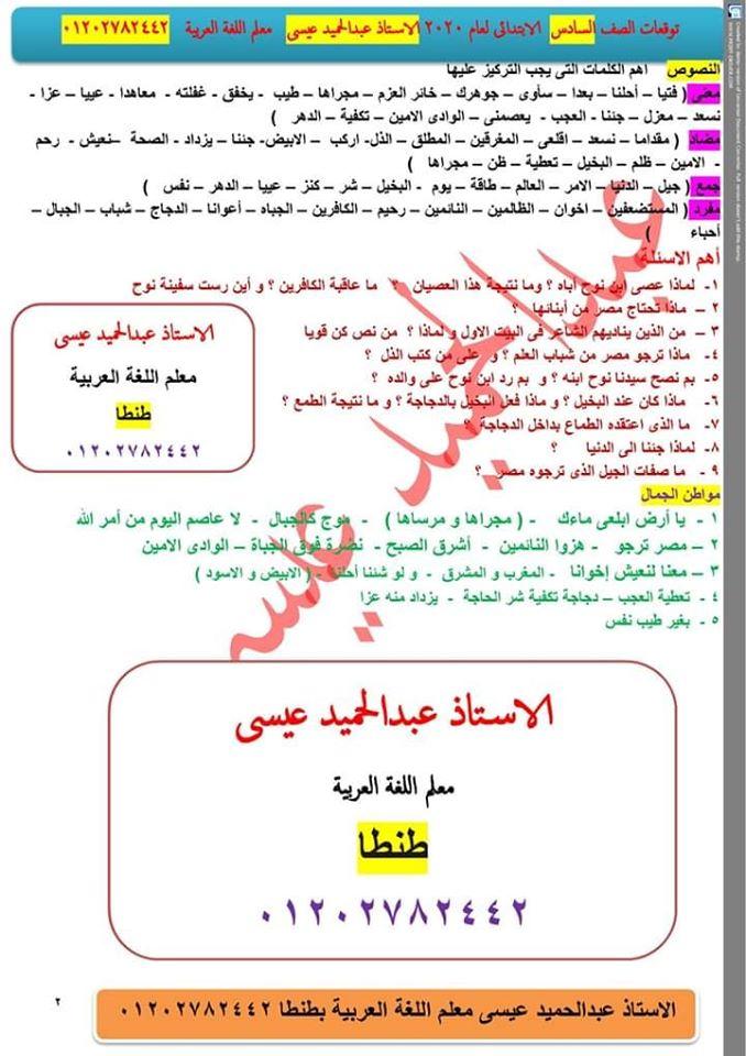 توقعات امتحان اللغة العربية الصف الرابع و الخامس و السادس الابتدائي ترم أول 2020 أ/ عبد الحميد عيسي 4