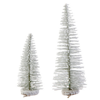 RAZ Snowy Bottle Brush Tree Christmas ornaments