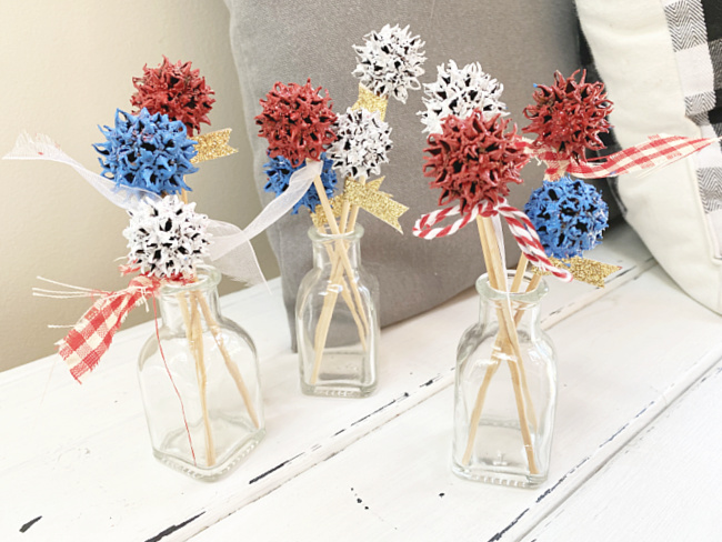 sweet gum vases of red, white and blue