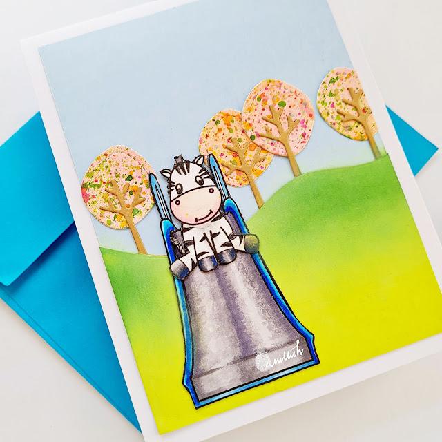 Crescent Creation park fun, digital stamp, lawn fawn tree dies, Zebra card, cute card, critter card