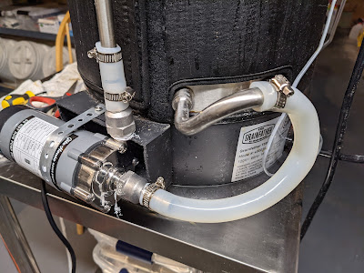 Image of the new pump attached to Grainfather