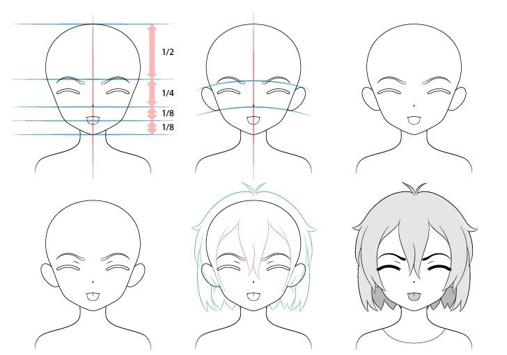 Gadis anime lidah keluar menggambar wajah menggoda marah langkah demi langkah