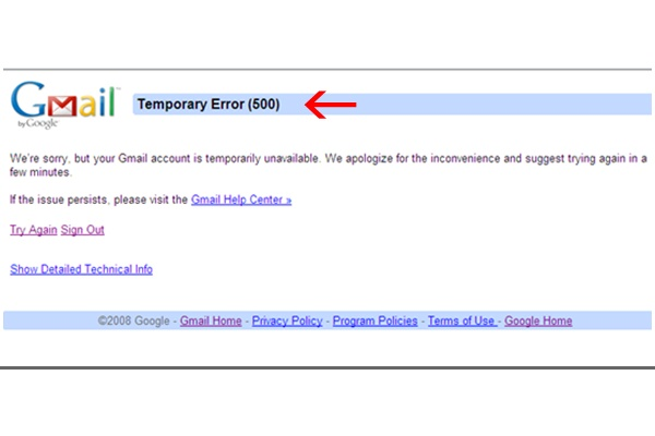 gmail temporary error