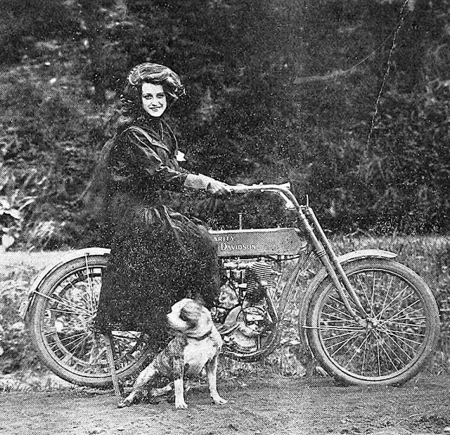 a bad-ass woman on a Harley Davidson motorcycle,  1910