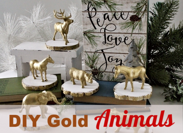Gorgeous and Easy Gold Painted Toy Animals for Christmas