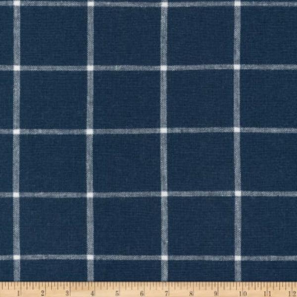Kaufman Essex Yarn Dyed Classic Wovens Linen Check Indigo Fabric