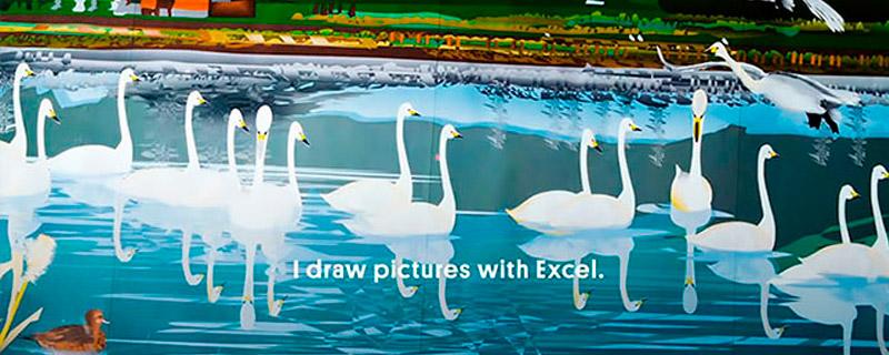 Paisajes japoneses pintados en Excel