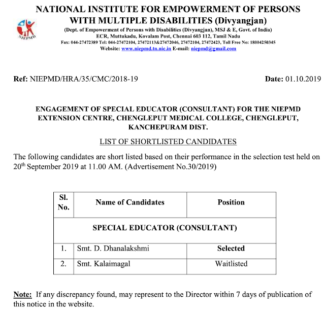 NIEPMD Chennai Results 2019 for Special Educator