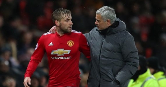 Luke Shaw and Jose Mourinho of Man United