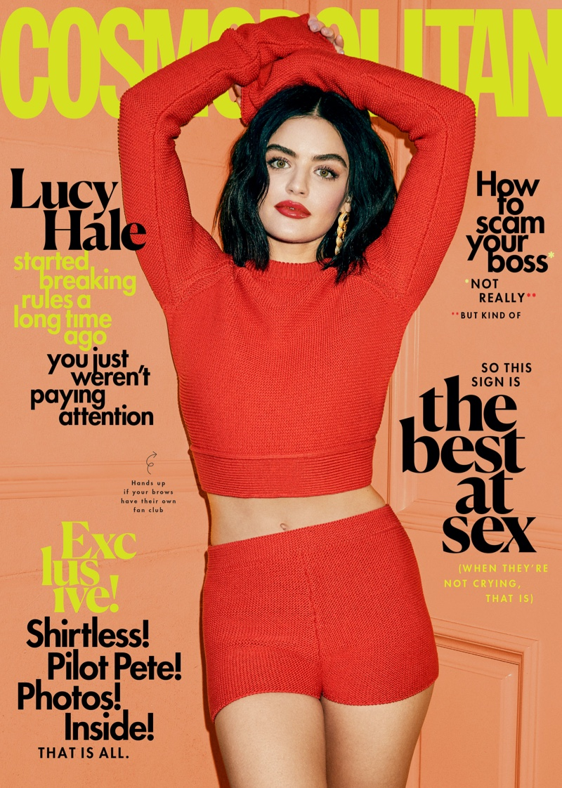 Lucy Hale flaunts high end fashion for Cosmopolitan March 2020
