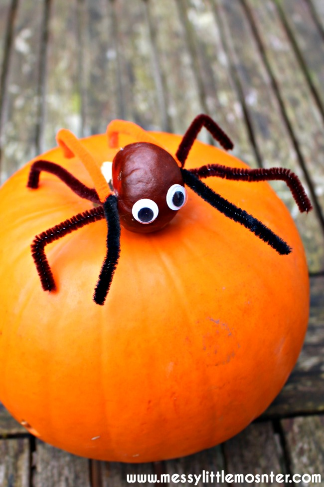 Easy conker spider craft for kids (horse chestnut craft) A great autumn activity idea for toddlers and preschoolers working on fine motor skills.