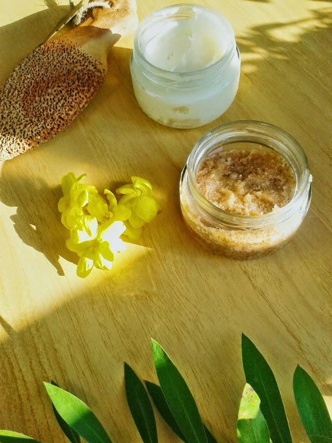 foot sugar scrub and camomile cream