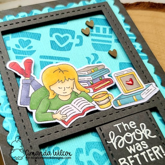 A Slimline Card for Book Lovers by Amanda Wilcox | Sips & Stories Stamp Set, Slimline Die Sets and Mugs Stencil by Newton's Nook Designs #newtonsnook #handmade