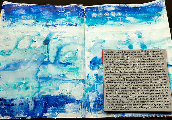 Layers of ink - Always Hope Seascape Art Journal Page Tutorial by Anna-Karin Evaldsson. Stamp the background.