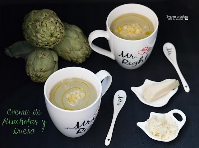 Crema de alcachofas aromatizada con queso ahumado Idiazabal