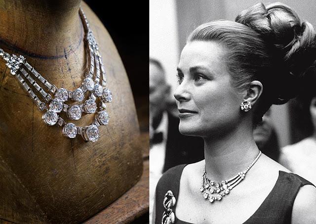 Grace de Monaco, filme jóias da Cartier, figurino, foto da atriz Grace Kelly, com colar