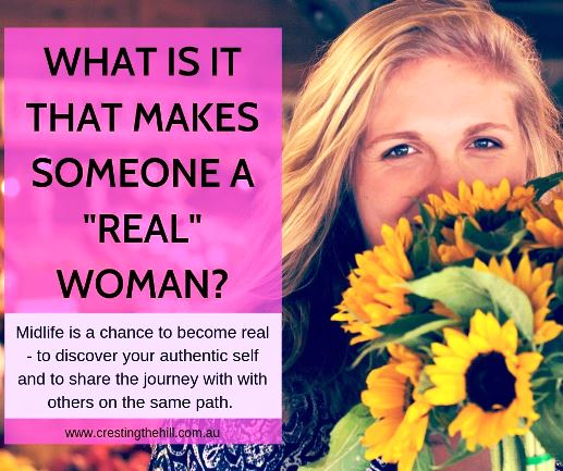 Midlife is a chance to become real - to discover your authentic self and to share the journey with with others on the same path. #midlife #authenticity