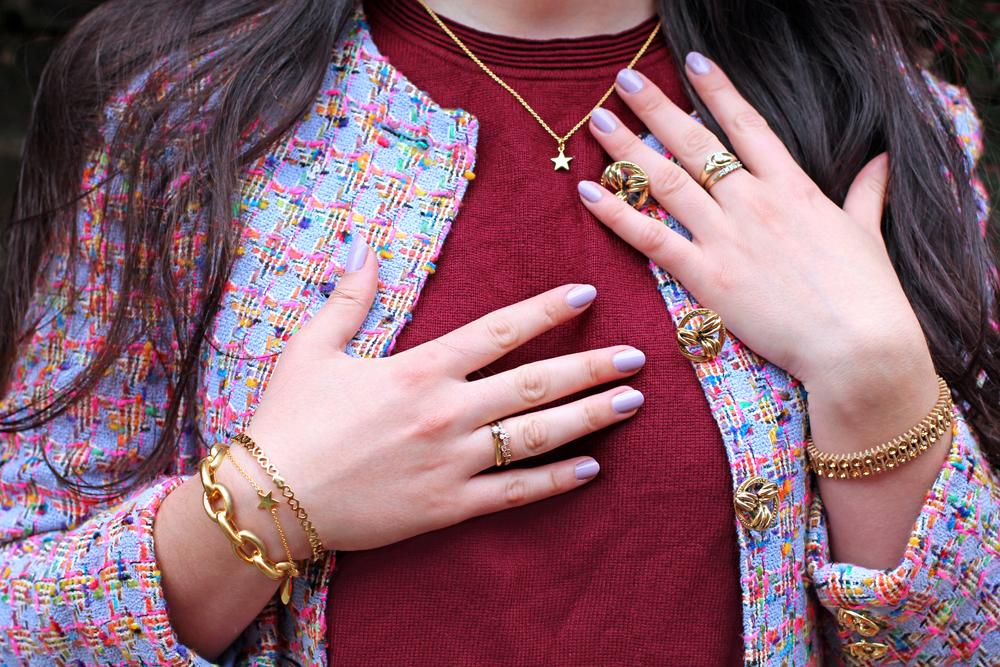 Gold jewellery and vintage Jaeger jacket - UK style blog