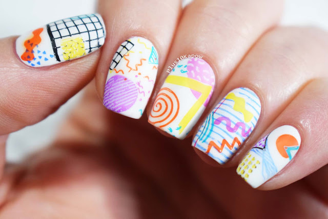 90s style nails using the Born Pretty Geometry L001 stamping plate