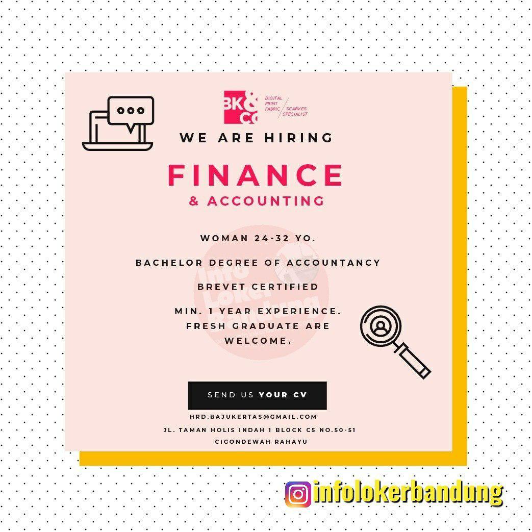 Lowongan Kerja Finance & Accounting CV Bajukertas Kreasindo Bandung November 2019