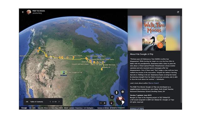 Google Earth Screenshot eines Google Lit Trips