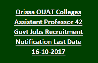 Orissa OUAT Colleges Assistant Professor 42 Govt Jobs Recruitment Notification Last Date 16-10-2017
