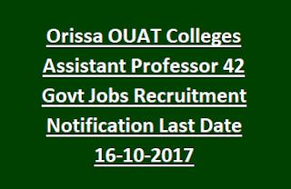 Orissa OUAT Colleges Assistant Professor 42 Govt Jobs Recruitment Notification Last Date 16-10-2017
