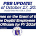 UPDATE on the Grant of PBB to DepEd Employees