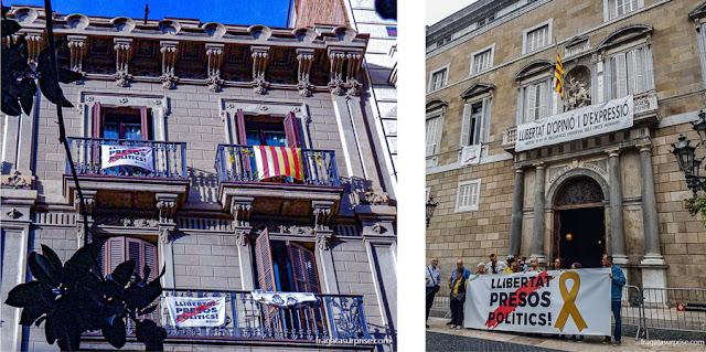 Protestos contra as prisões dos líderes independentistas catalães