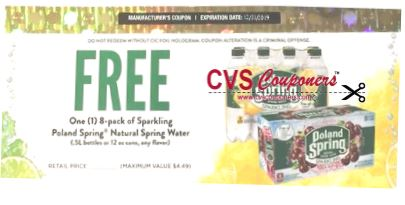FREE Poland Spring Sparkling Water coupon cvs couponers