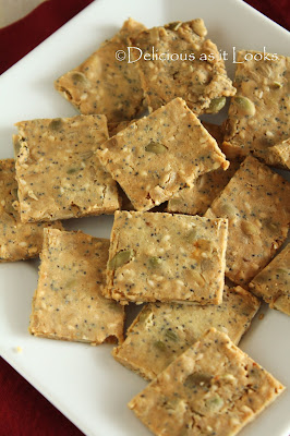 Rosemary-Almond Multi-Seed Crackers  |  Delicious as it Looks