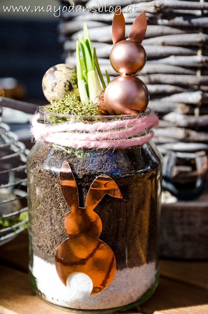 Frühlingsgläser mit Kupfer-Häschen