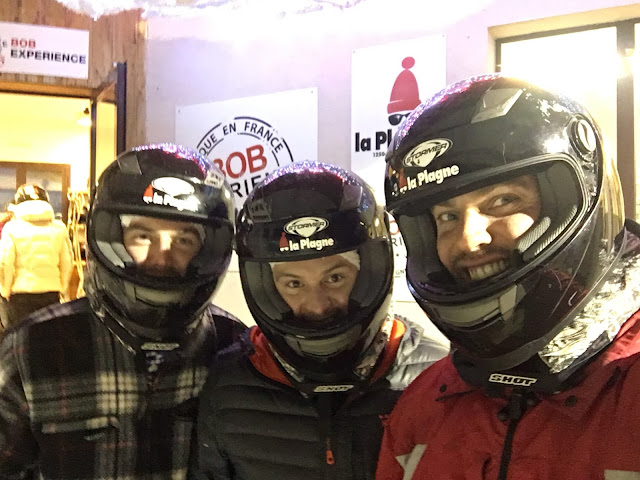 Helmets at the ready for the Olympic bobsleigh run in La Plagne - Feb 2016