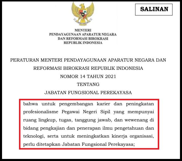gambar Jabatan Fungsional Rekayasa [PerMENPAN RB Nomor 14 Tahun 2021]