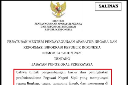 Jabatan Fungsional Rekayasa [PerMENPAN RB Nomor 14 Tahun 2021]