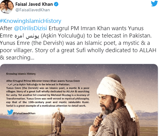 PTI senior member Senator Faisal Javed shared a post on Twitter