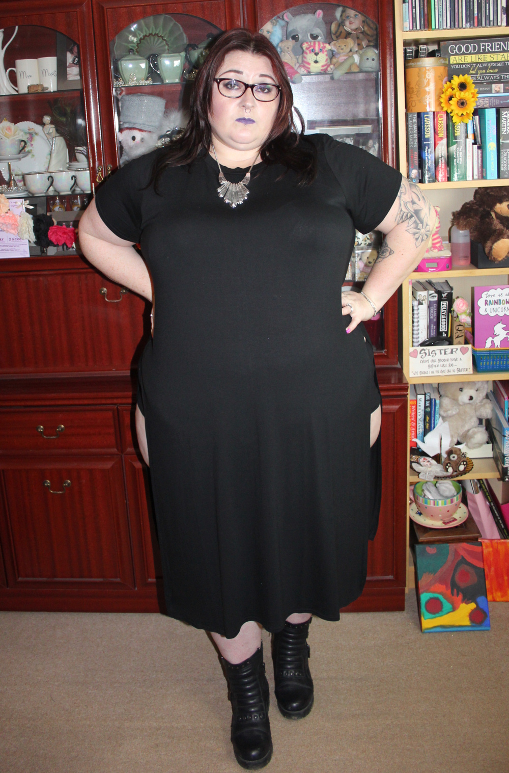 Yours Clothing Black Short Sleeve Plus Size Maxi Top With Large Side Splits