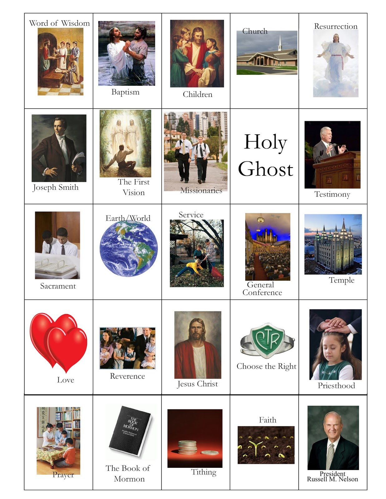 Doodlecraft Lds General Conference Bingo Cards Free