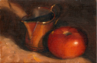 Oil painting of a small copper jug beside a tomato.