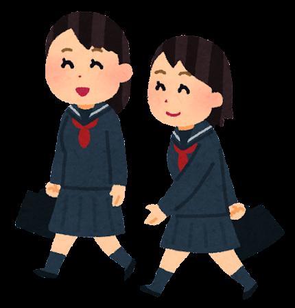 通学している男子学生のイラスト(セーラー服)